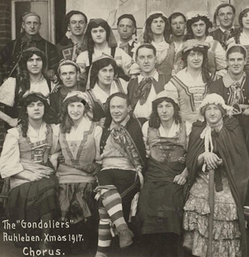"The ""Gondoliers"", Ruhleben, christmas 1917 (Photo: Historical & Special Collections, Harvard Law School Library/Schwules Museum Berlin)"