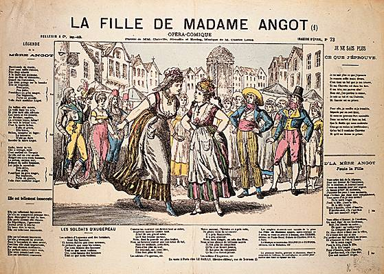 "Scene from ""La Fille de Madame Angot"" in a newspaper."
