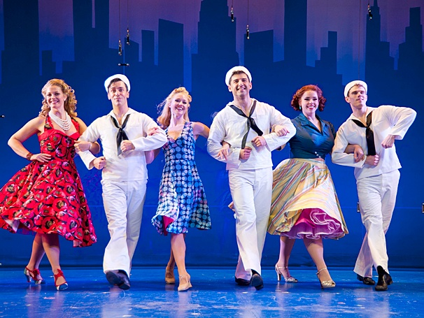 "The cast of the 2014 revival of ""On the Town""."