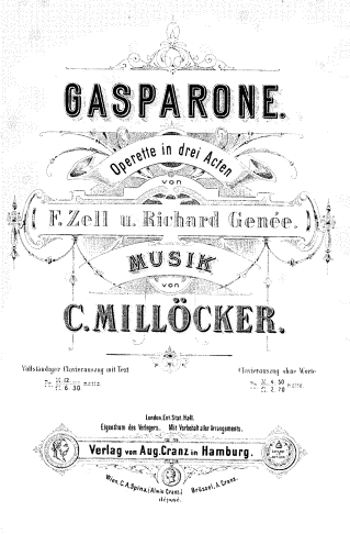 "Cover of the original ""Gasparone"" piano score."