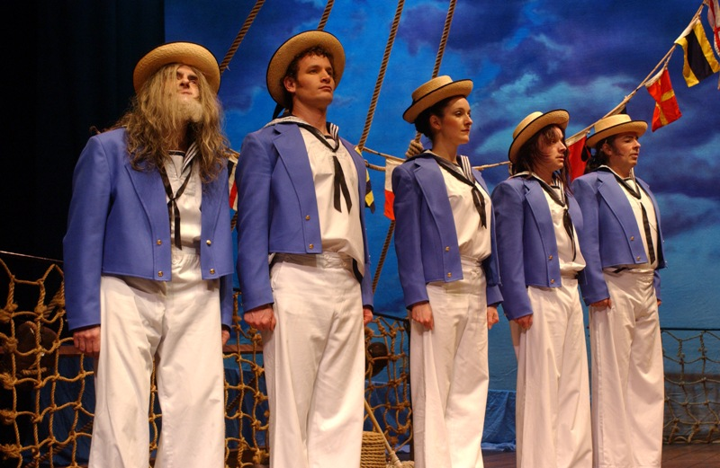 "Scene from ""HMS Pinafore"" with a mixed sailor's chorus."