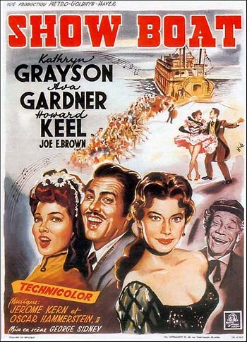 "Poster from the 1951 MGM film version of ""Show Boat."""