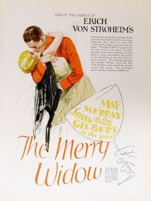"Poster for the 1925 Hollywood version of ""Merry Widow."""