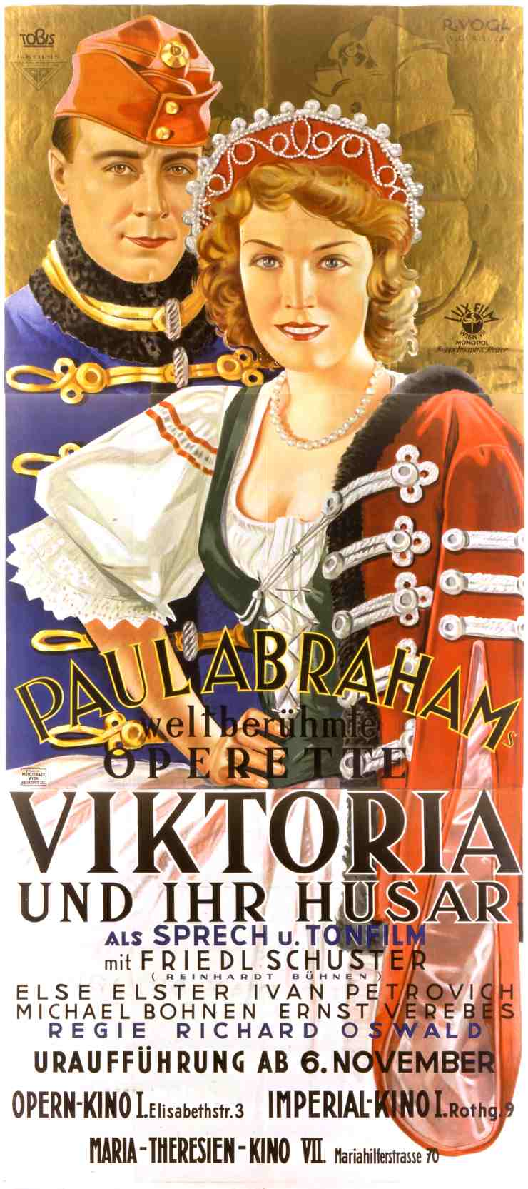 "Poster for the movie version of Abraham's ""Viktoria und ihr Husar."""