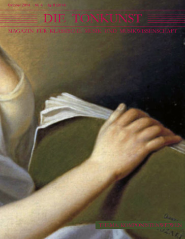 """The October 2014 issue of """"Die Tonkunst"""" dedicated to composer's widows."""