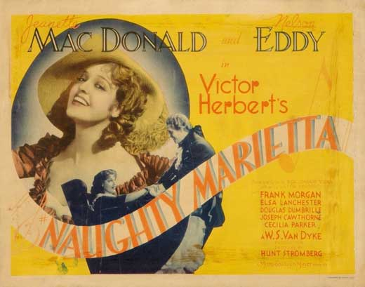 "Poster for the 1935 movie version of ""Naughty Marietta."""