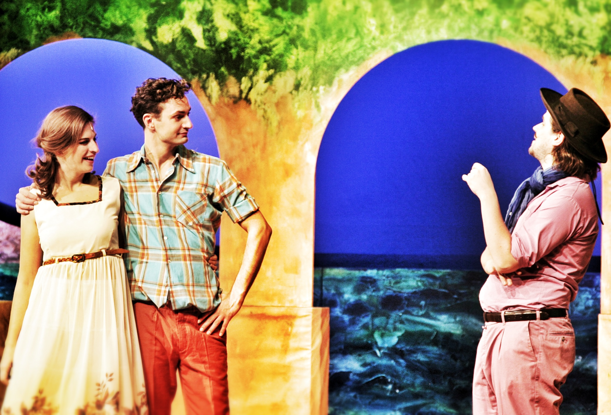 "Scene from ""Maske in Balu"" at the Theater der Altmark, 2014. It shows a colorful ""Argentinia"" where the last scenes are set."