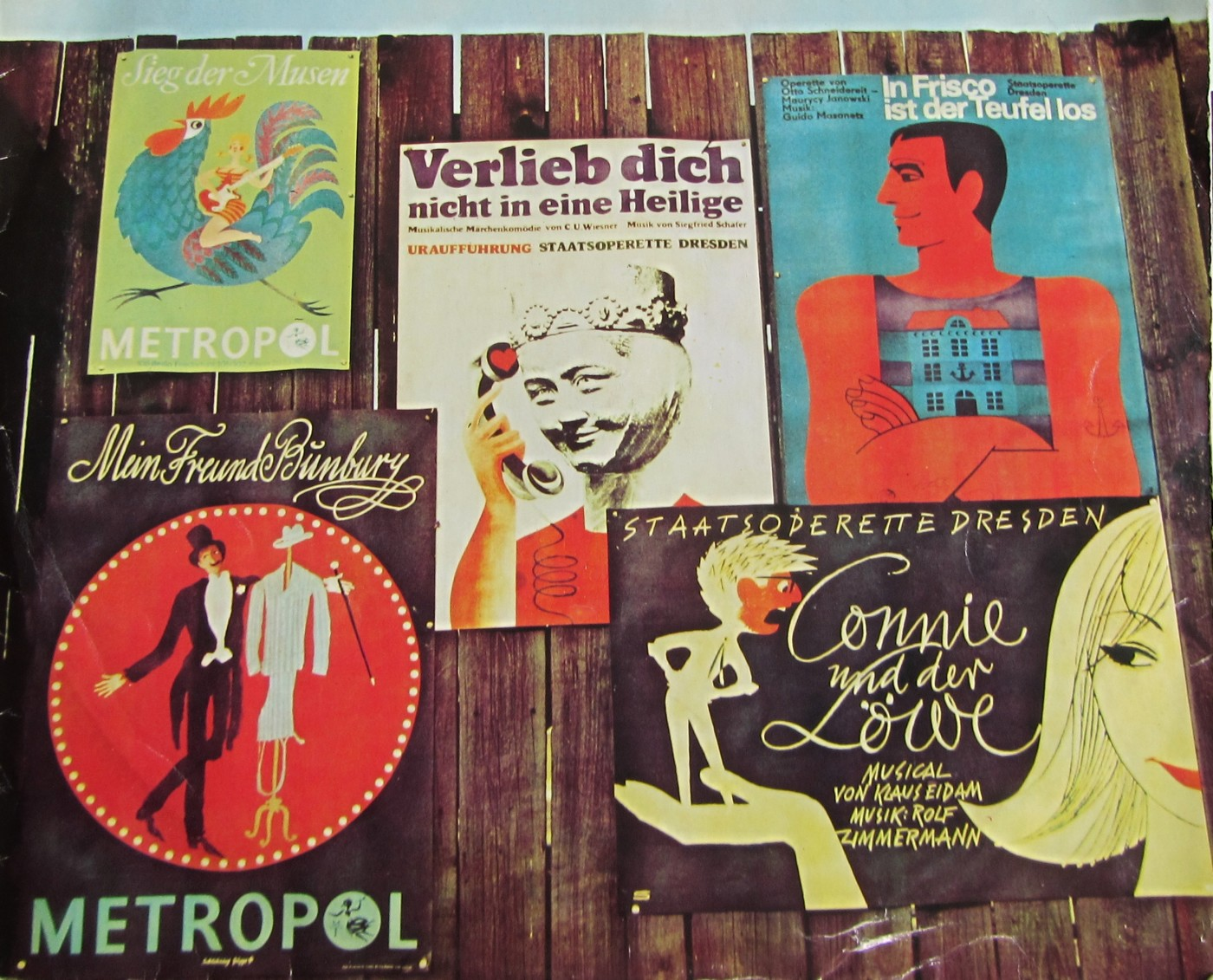 Various famous operettas from Eastern Germany, as presented on an LP cover in the GDR.