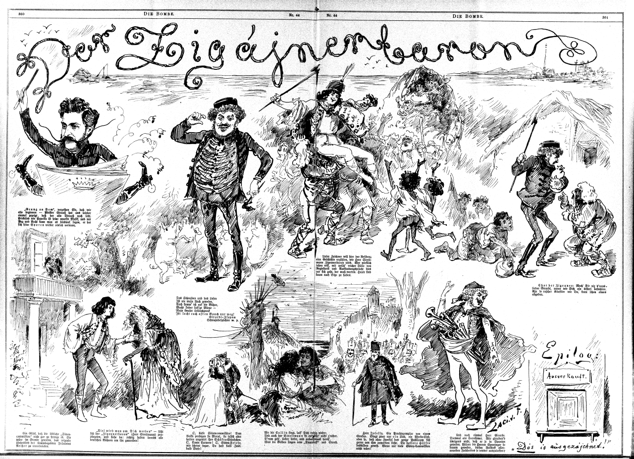 "Cartoon from the newspaper ""Die Bombe,"" illustrating the original Viennese production of ""Der Zigeunerbaron."""
