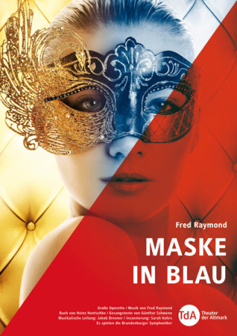 "Poster for the ""Maske in Blau"" production of the Theater der Altmark, 2014."