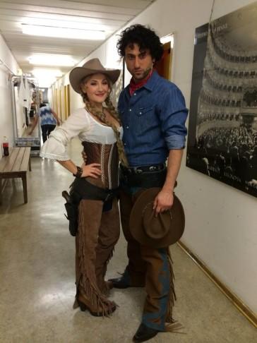 """Serkan Kaya and Katharine Mehrling ready to go onstage in """"Arizona Lady"""" 2014. (Photo: Katharine Mehrling)"""