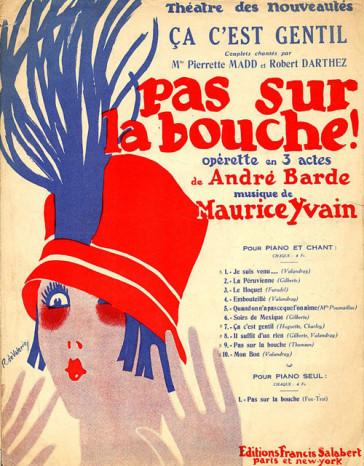 """A historic sheet music cover for Yvian's """"Pas sur la bouche."""""""