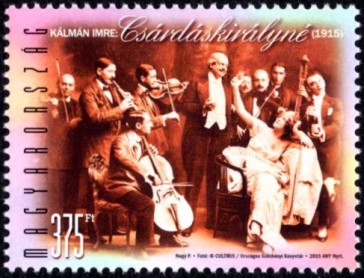 "The Hungarian postal stamp commemorating the centenary of ""Die Csardasfürstin."""