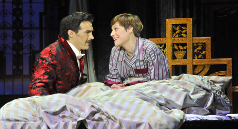 "Homoerotic glances: Kató and Andersen in bed, in ""Me and My Little Brother"" at the Budapest Operettszínház."