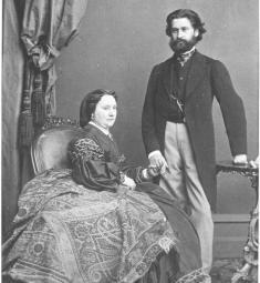 The elderly Jetty Strauss with her youthful husband Johann.