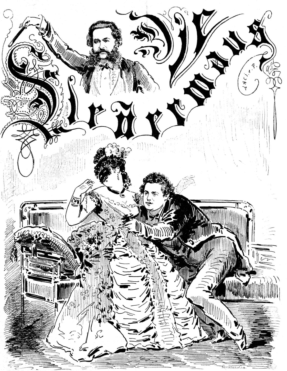 """The cover page of """"Die Bombe"""" showing a scene from the original 1874 production of """"Die Fledermaus."""""""