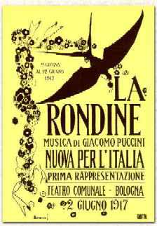 "Cover for the score of Puccini's ""La Rondine."""
