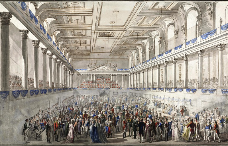 A scene from the real Congress of Vienna in 1815, show at the Belvedere exhibition.