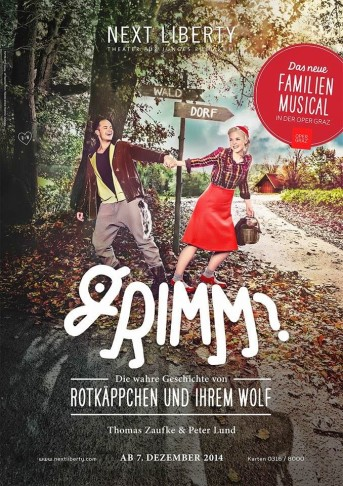 "Poster for the Austrian production of ""Grimm"" in Graz."