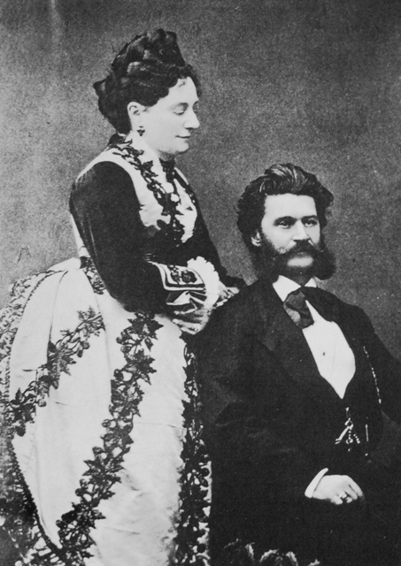 Johann Strauss and his first wife, Jetty Trenfz, a famous Viennese courtesan who had seven illegitimate children and introduced Strauss to the demi-monde world of operetta.