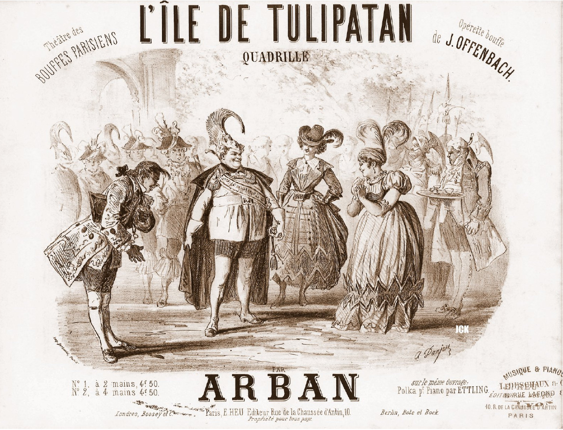 "Sheet music cover for the quadrille of Offenbach's ""L'Île de Tulipatan."""