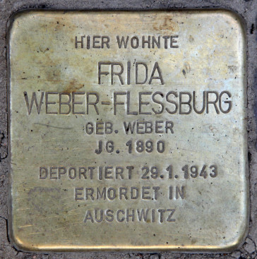 "The ""Stolperstein"" for Frida Weber-Flessburg on Hektorstraße 3, Berlin. (Photo: Wikipedia)"