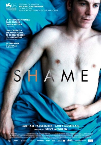 "Poster for the Steve McQueen movie ""Shame"" starring Michael Fassbender."