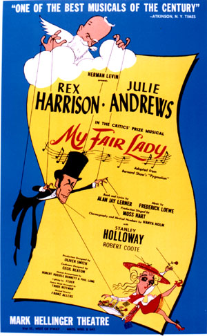 "Poster for the original Broadway production of ""My Fair Lady"" starring Rex Harrison and Julie Andrews."