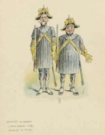 Grabuge and Pitou as men-at-arms, Théâtre des Menus-Plaisirs, 1868; drawing by Draner. (Photo: Wikipedia)