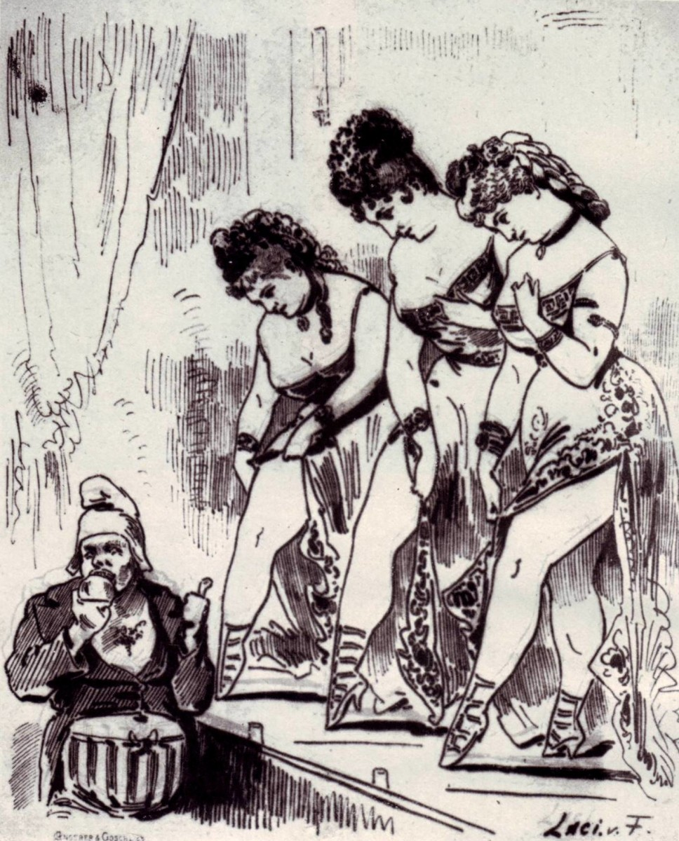 Three Helenas in Vienna, showing off their legs to the theater director in the 1860s.
