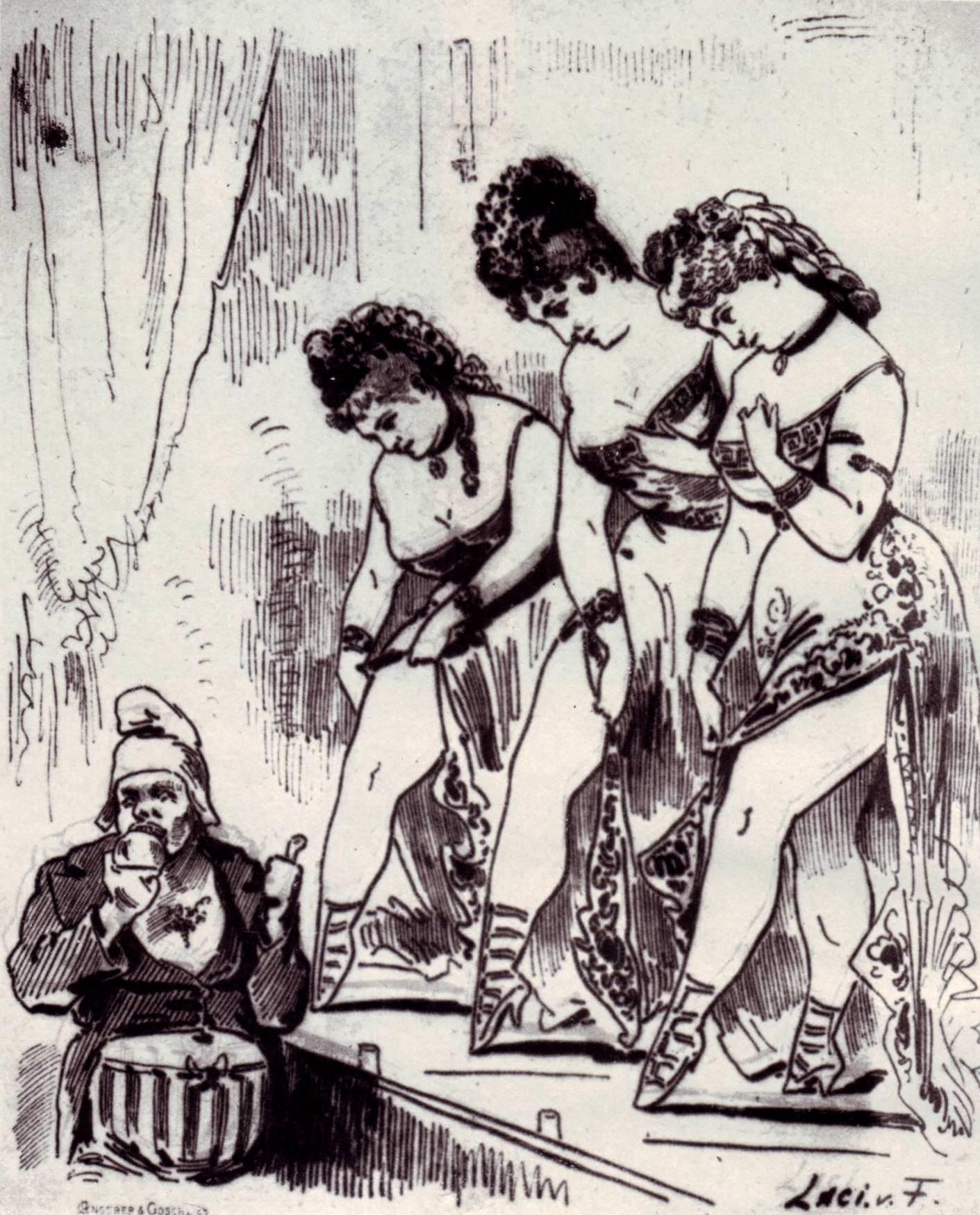 Three Helenas in Vienna, showing off their legs.