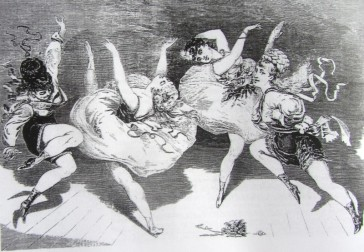 "A cartoon in the London paper ""The Day's Doings"" from 8 October, 1870, giving an impression how these early operettas were performed. (It might look pretty harmless from this angle, but not from the stalls.)"