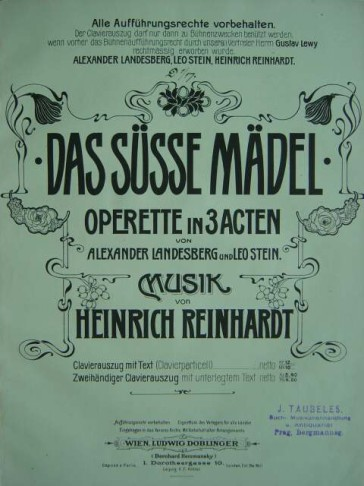 "Cover of the score for ""Das süße Mädel,"" the operetta by Heinrich Reinhardt."