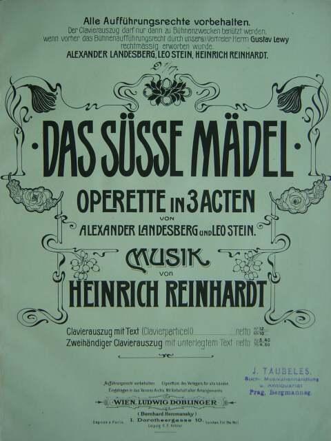 "Cover of the score for ""Das süße Mädel,"" the operetta by Heinrich Reinhardt."