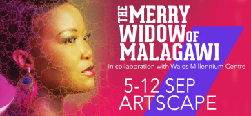 "Poster for tge Cape Town Opera production of ""The Merry Widow."""