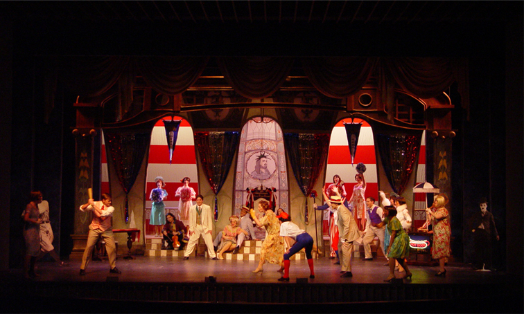 "Scene from the 2nd act of ""Duchess of Chicago"" at Ohio Light Opera, set design by Kirk A. Domer. (Photo: OLO)"