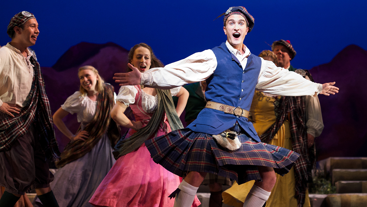 "The fabulous Stephen Faulk in ""Brigadoon"" - looking dashing in a kilt. (Photo: Matt Dilyard)"