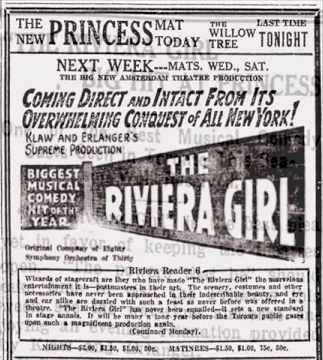 "Newspaper ad for Kálmán's ""The Rviera Girl"" on Broadway."