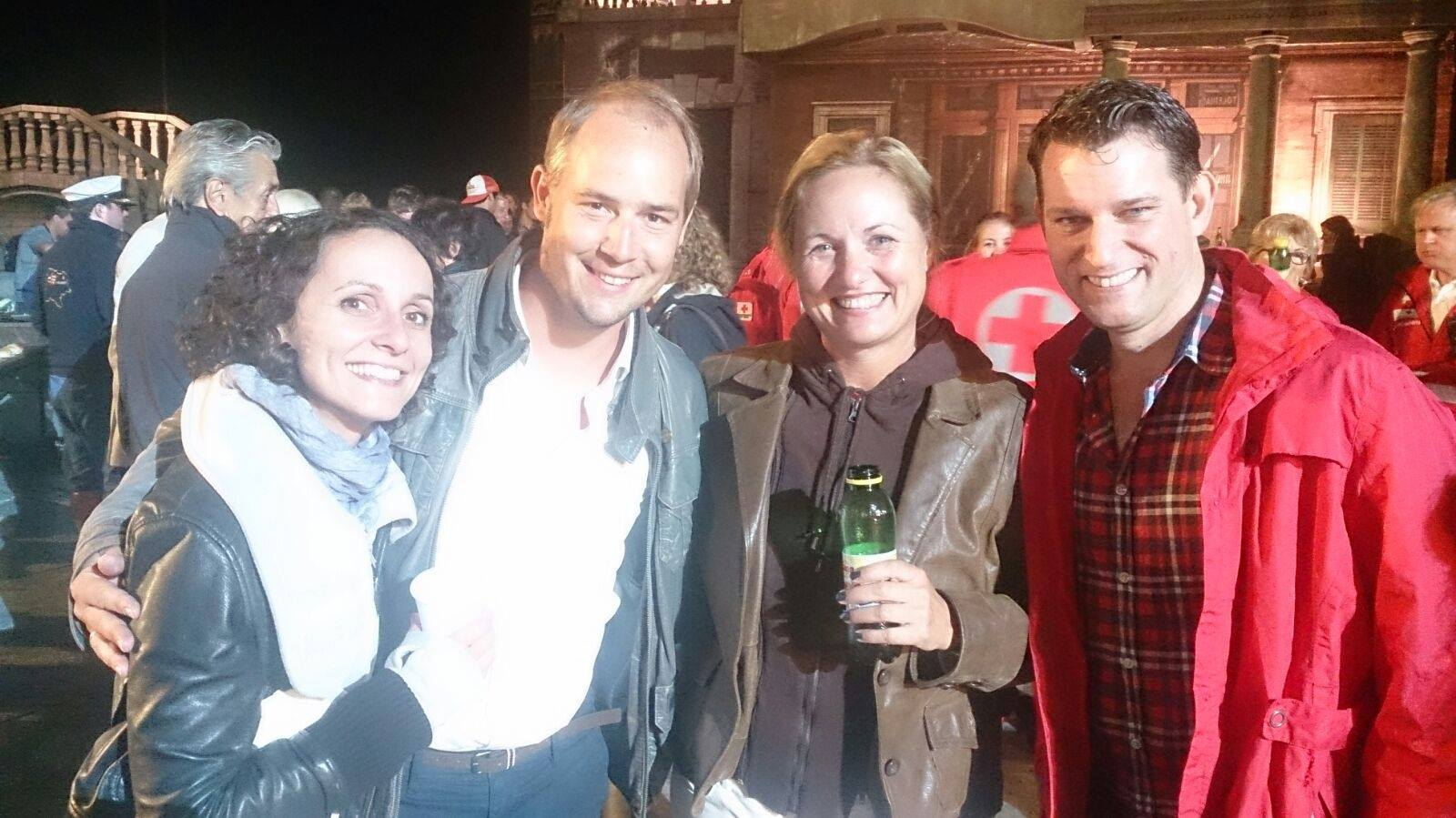 Dagmar Schellenberger (2nd from right) together with Verena Barth-Jurca, Peter Lesiak and Jeffrey Treganza at the festival in Mörbisch 2015. (Photo: Dagmar Schellenberger/Facebook)