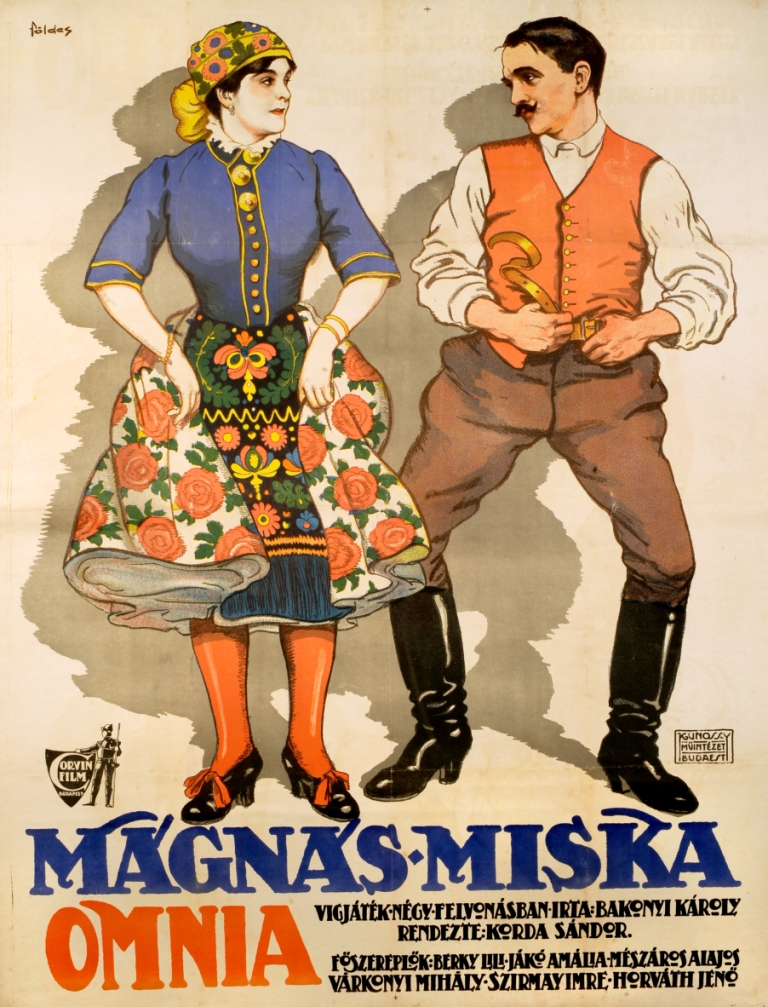 "Poster for the 1916 film version of ""Mágnás Miska."""