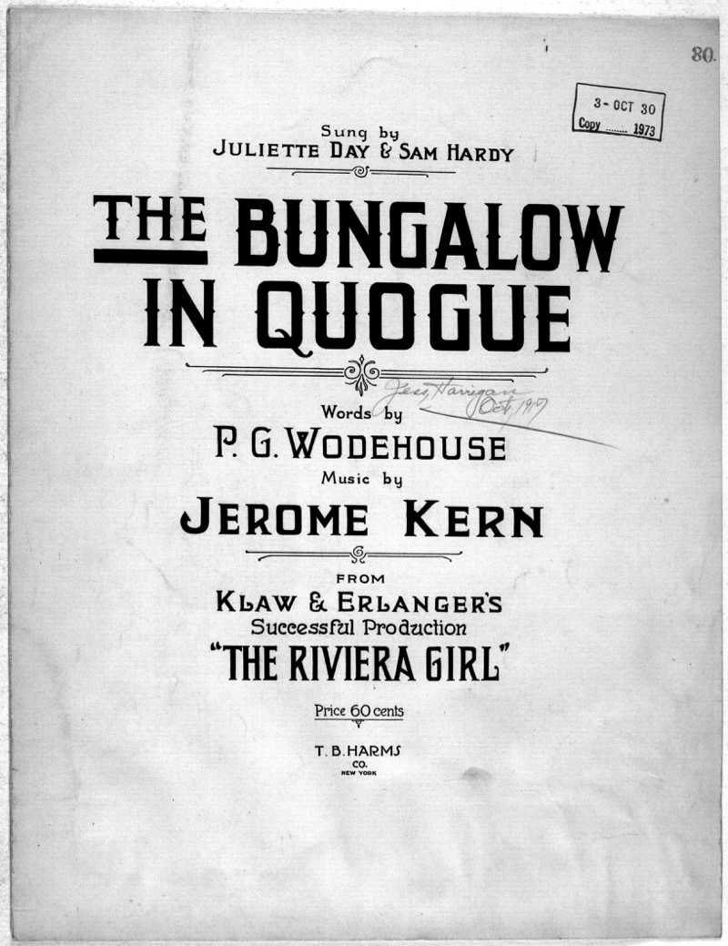 "The added number by Jerome Kern, for the 1917 production of ""The Riviera Girl."""