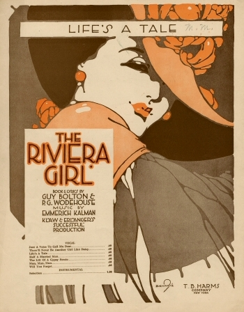 "Sheet music cover for ""Life's a Tale"" from Kálmán's ""The Riviera Girl."""