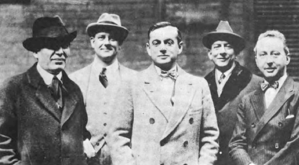 Morris Gest, P. G. Wodehouse, Guy Bolton, F. Ray Comstock and Jerome Kern taken circa 1917. (Photo: Wikipedia)