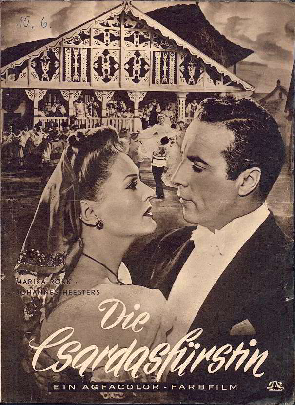 "Cover of a German film magazine featuring Maarika Rökk and Johannes Heesters in a 1950s ""Csardasfürstin"" - set in Sicily. (Source: ORCA archive)"