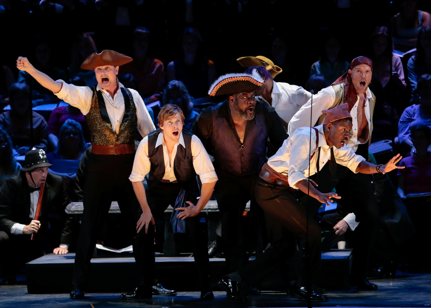 "Hunter Parrish (center left) and Phillip Boykin, (center right) in ""The Pirates of Penzance,"" Master Voices, New York City Center 2015. (Photo: Erin Baiano)"