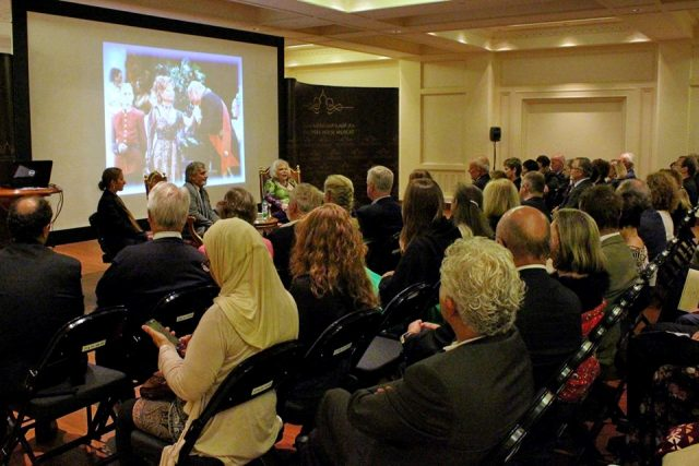 Yvonne Kalman talking about her fathers operettas in Muscat, 2015. (Photo: Pentaton Concert and Artist Management)