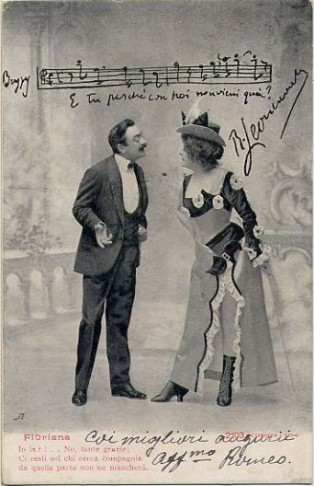 "Historical postcard with a scene from Leoncavallo's ""Zazà."""