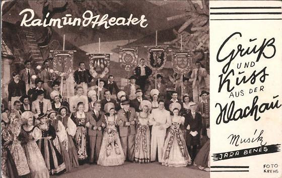 """Postcard with a scene from """"Gruß und Kuss aus der Wachau,"""" music by Jara Benesch. (Source: Delcampe.net)"""