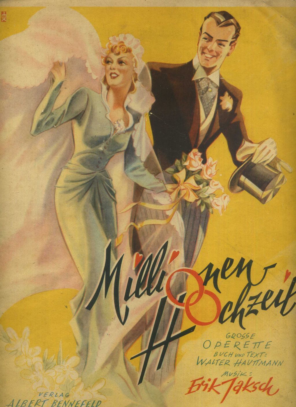 "Sheet music cover of ""Millionenhochzeit,"" with music by Erik Jaksch."