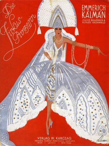 "Cover for the original piano score of ""Zirkusprinzessin,"" 1926."